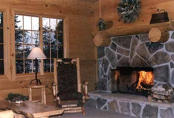 Lynx Cabin fireplace at Lodge of Whispering Pines.