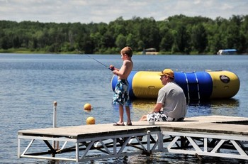 Fishing off the dock at Agate Lake Resort.
