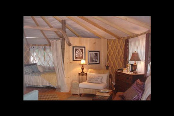 Yurt interior at Kingtown Beach Cottages.