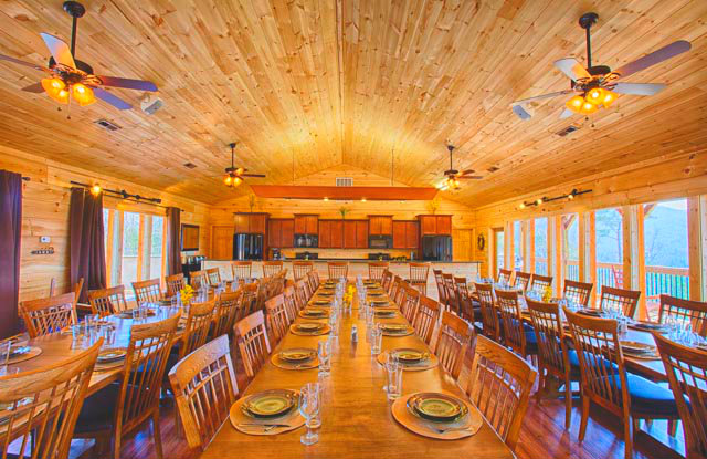 Cabin dining room at The Cabin Rental Store.