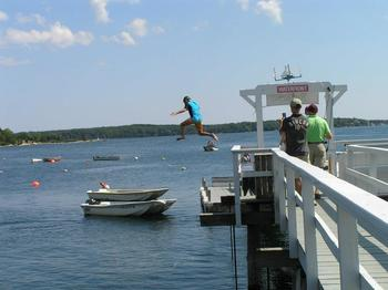 Jumping off the dock at Linekin Bay Resort.