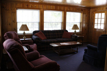 Cabin living room at Kentucky Beach Resort.