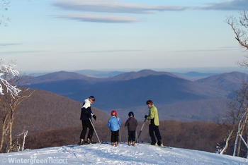 Family skiing at Wintergreen Resort.