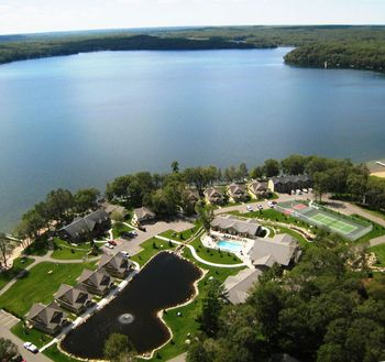 Aerial view of Kavanaugh's Sylvan Lake Resort.