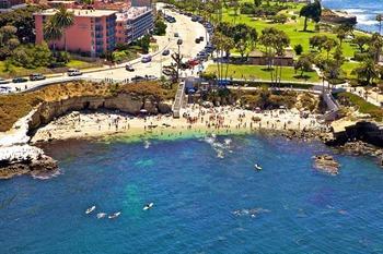 Aerial view of La Jolla Cove Suites.
