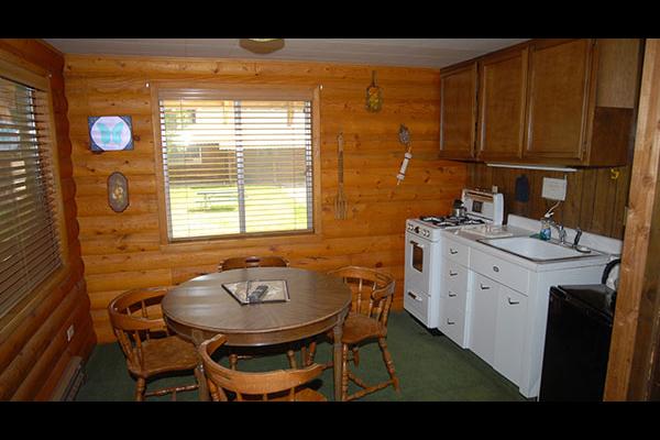 Cabin kitchen at Sourdough Lodge.