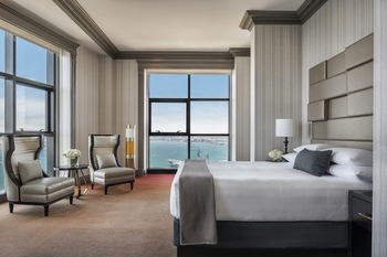 Guest suite bedroom at Manchester Grand Hyatt San Diego.