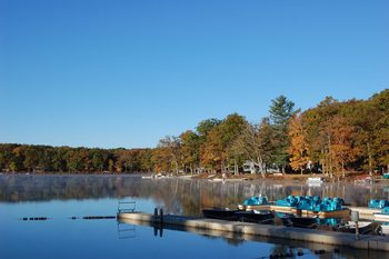 View of the lake at Woodloch Resort.