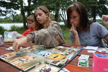 Family game night at Hyde-A-Way Bay Resort.
