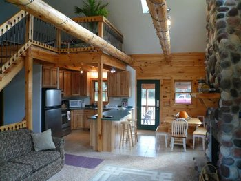 Cabin living area at Spot in the Woods Lodging.