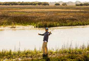 Fly fishing in the creek at the Lodge on Little St. Simons Island.