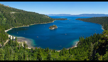 Aerial view of Lake Tahoe at Aston Lakeland Village.