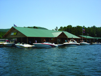 Boating activities at Mountain Harbor Resort.