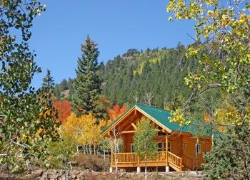 Cabin exterior at Deer Trail Lodge.
