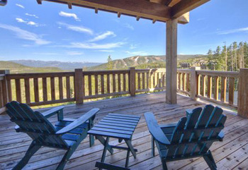 Cabin deck at Big Sky Vacation Rentals.