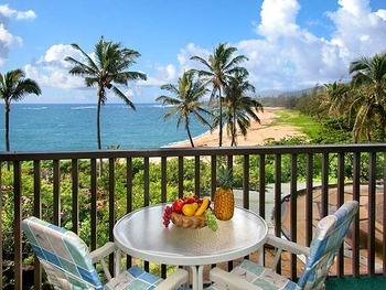 Vacation rental balcony view at Wailua Bay View Condos.