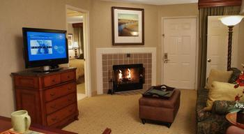 Guest room at Homeplace Suites.
