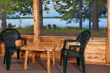 Lake view from cabin at Two Inlets Resort.