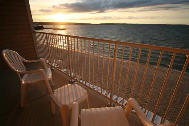 Balcony lake view at Bayshore Resort.