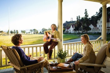 Relaxing on the porch at Cavallo Point Lodge.