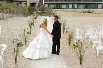 Wedding Couple at Gurney's Inn Resort Spa