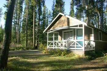 Cabin exterior at Johnston Canyon Resort.