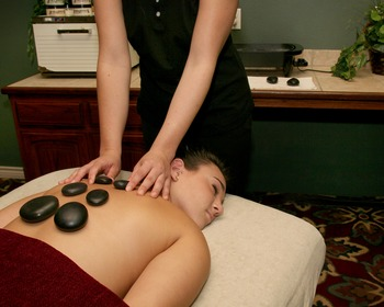 Hot stone massage at Tanglewood Resort and Conference Center.
