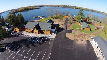 Aerial view of Northern Pines Resort.