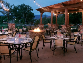 Patio Bonfire With Patio Furniture at Gateway Canyons Resort