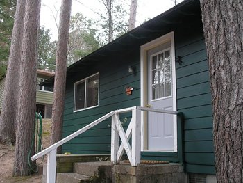 Cabin exterior at Chippewa Pines Resort.
