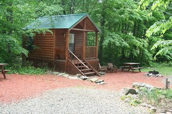 Cabin exterior at Hemlock Campground & Cottages.