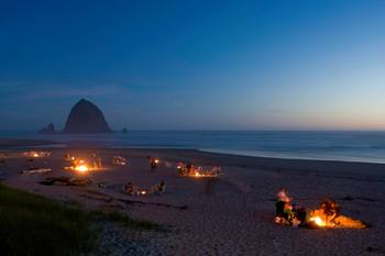 Beach bonfires at Hallmark Resort in Cannon Beach.