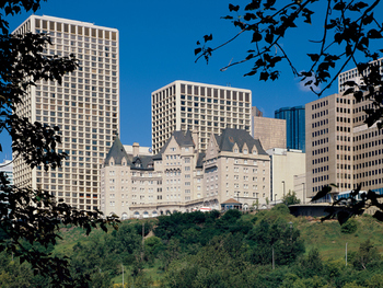 Exterior view of The Fairmont Hotel Macdonald.