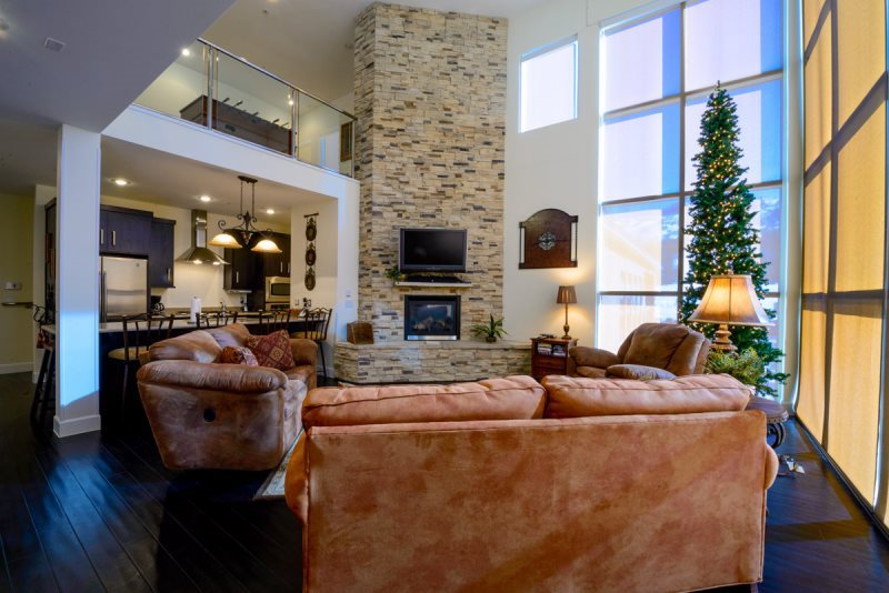 Condo living room at Family Time Vacation Rentals.
