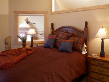 Cabin bedroom at Temperance Landing on Lake Superior.