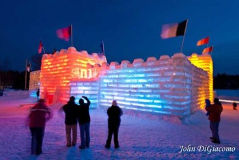 Ice castle near Northwoods Inn.