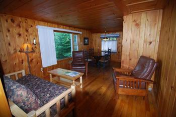 Cabin living room at Clearwater Historic Lodge.