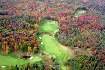 Aerial view of golf course at Otsego Club and Resort.