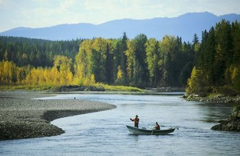Fishing on river at Great Northern Resort.