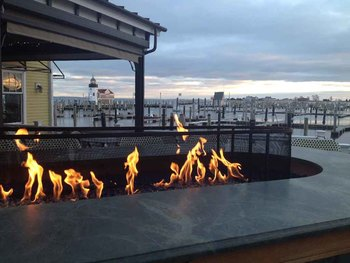 Outdoor fire at Saybrook Point Inn & Spa.