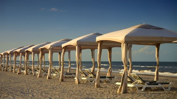 Beach cabanas at Omni Amelia Island Plantation.