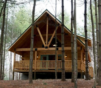Cabin exterior at The Cabins at Pine Haven.