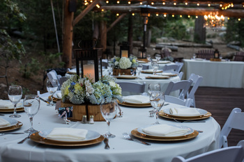 Wedding reception at Arrowhead Pine Rose Cabins.