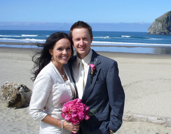 Beach wedding at Shorepine Vacation Rentals.