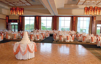 Ballroom decorated for a wedding at Eaglewood Resort.