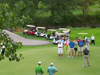 Golfing at The Lodge Resort Hotel.