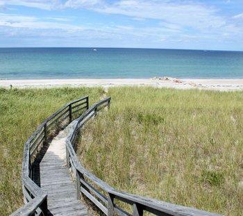 The beach boardwalk at Beach Realty.