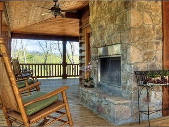 Fireplace deck at Greybeard Rentals.