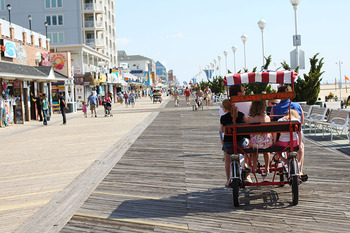 Ocean City boardwalk at Plim Plaza Hotel Ocean City.