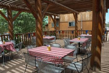 Patio dining at Zion Ponderosa Ranch Resort.